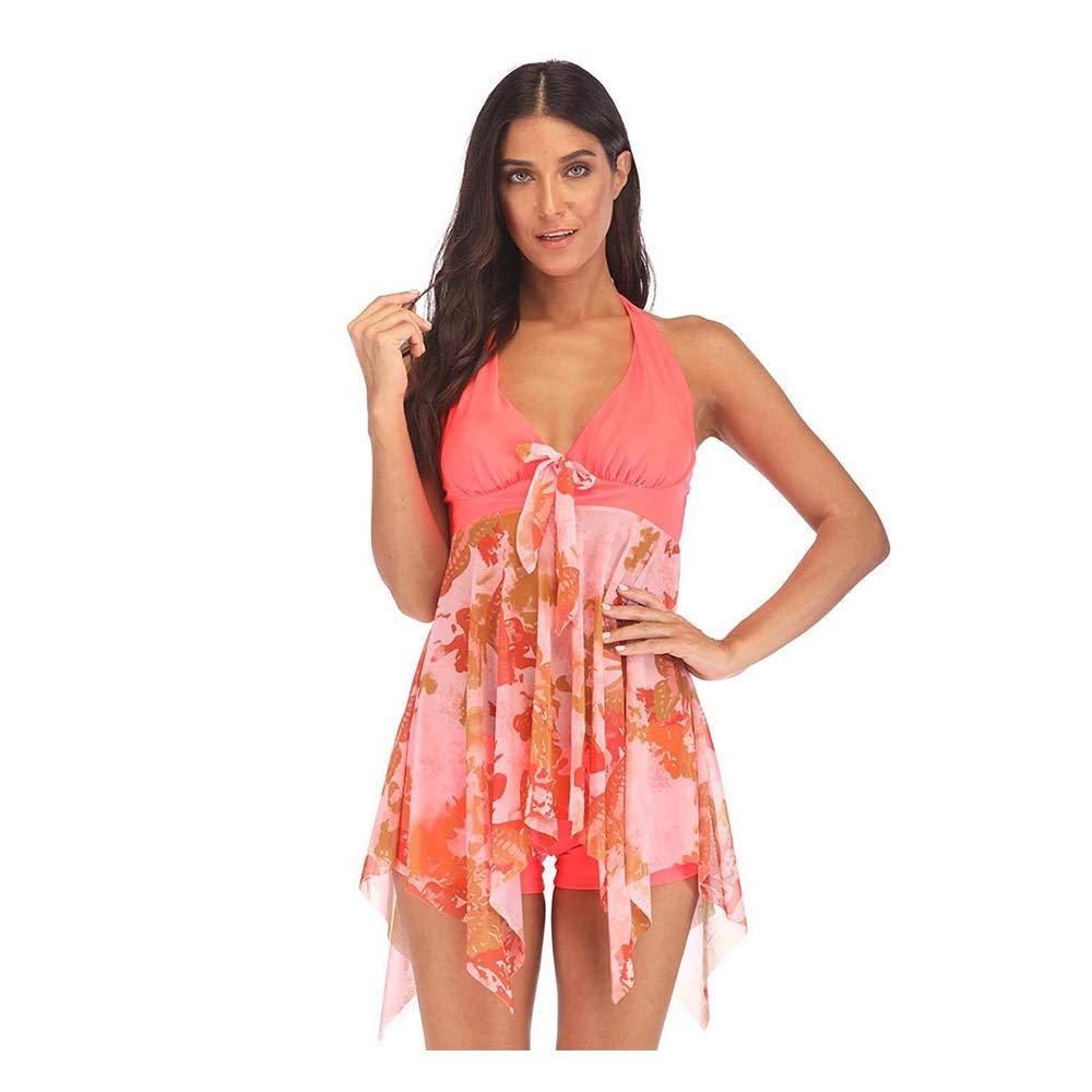 FeelinGirl Damen Bademode Figurformend Neckholder Retro 50s Pin Up Vintage Ruched Badeanzüge Bikini Set Badeanzug für Sommer neu