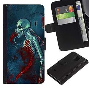 A-type (Muerte Sangre Grim azul cráneo Esqueleto) Colorida Impresión Funda Cuero Monedero Caja Bolsa Cubierta Caja Piel Card Slots Para Samsung Galaxy S5 Mini (Not S5), SM-G800
