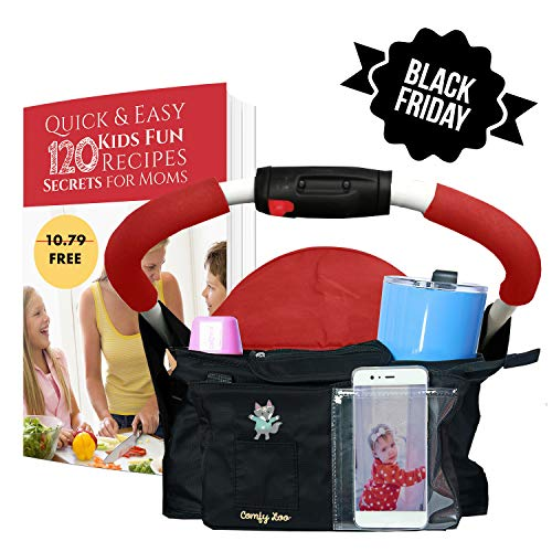BEST STROLLER ORGANIZER with Cup Holders and Detachable Bag with Shoulder Strap Perfect Baby Shower Gift!
