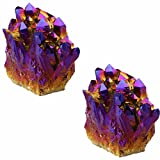 rockcloud Natural Titanium Coated Crystal Quartz Purple Cluster Geode Druzy Home Decoration Gemstone Specimen Pack of 2