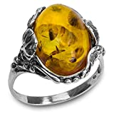 Ian and Valeri Co. Baltic Amber Sterling Silver Filigree Oval Ring