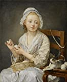 Canvas Prints Of Oil Painting ' Jean-Baptiste Greuze - The Wool Winder, C