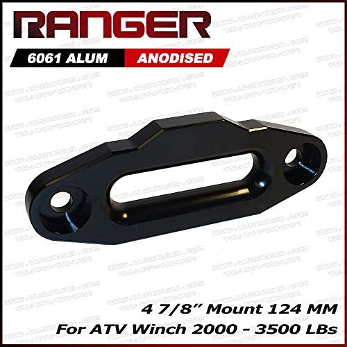 124mm Black Mount Glossy Ucreative Aluminum Hawse Fairlead for ATV 2000-3500 LBs Winch 4 7//8