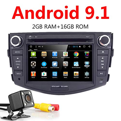 Android 9.1 Car Stereo 7 Inch in Dash Quad Core Auto Radio Head Unit Car GPS Navigation for Toyota RAV4/ 2006-2012 DVD Player+Bluetooth SWC+Backup Camera+North America Map