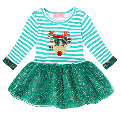 Jurebecia Little Girls Long Sleeve Christmas Dress Toddler Tutu Skirt Cotton Striped Dress Birthday Party Xmas Gift Size 3T