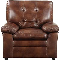 Buchannan Faux Leather Chair - Chestnut - Bedroom or Living Room Chairs - Home Furniture - Comfortable Thick Padded Arms - Kiln-dried Hardwood Frame - High-density Foam Seating - 1 Year Limited Warranty