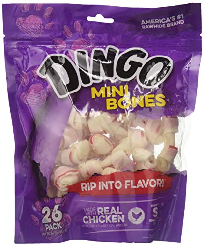 Dingo Brand Dog Rawhide Chews, Mini, White, 52 Count 2 x 26CT Packs
