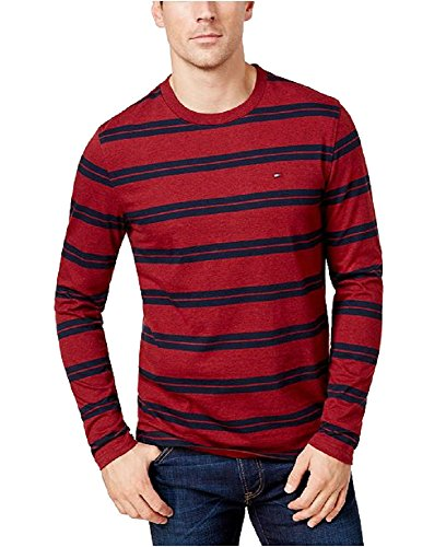 Tommy Hilfiger Men's Striped Long-Sleeve T-Shirt (Tomato, XXL)
