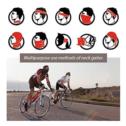 GonHui Neck Gaiter Sun Protection Sport Face Cover Cool Scarf Lightweight Breathable UPF 50 Face Bandana for Fishing Cycling Hiking (White+Gray)