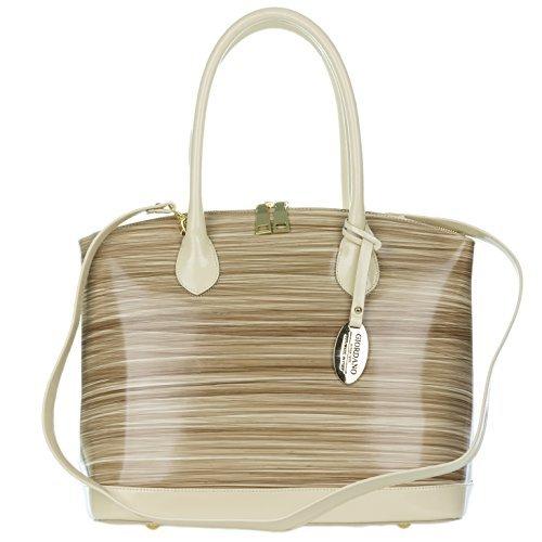 e Beige Stripe Glazed Leather Tote Handbag ()