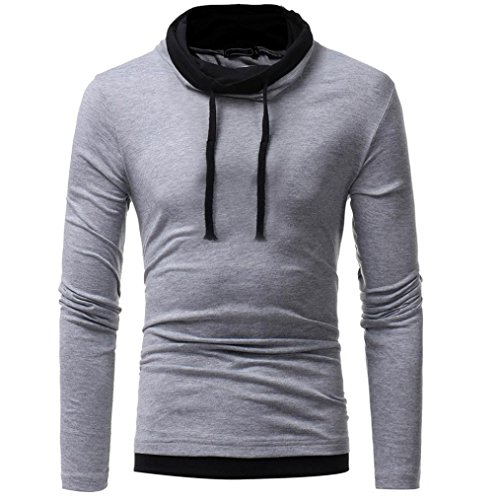 HTHJSCO Men's Spring Autumn Winter Casual Funnel Neck Plaid Jacquard Pullover Hooded Top Sweatshirt Hoodies (Gray, L)