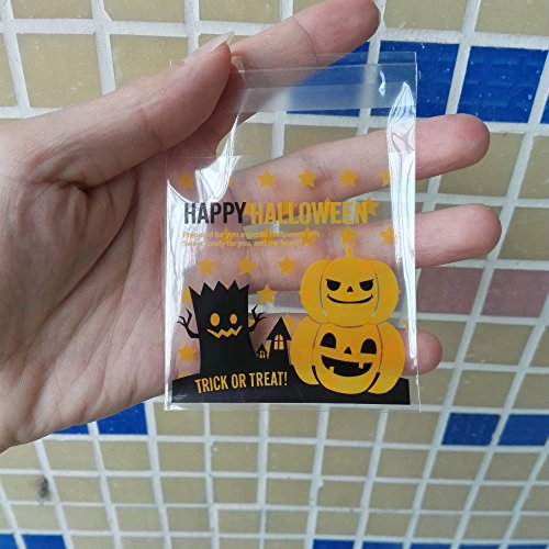 Saasiiyo 100 Pcs 2 style Halloween Yellow pumpkin Gifts Bags Plastic Clear DIY Candy Cookies Birthday Party Craft Bags Packaging Bags
