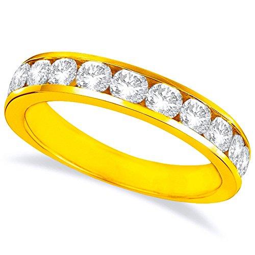 2 Carat (ctw) 14K Yellow Gold Round Diamond Ladies Channel Set Half-Way Semi-Eternity Wedding Anniversary Stackable Ring Band Premium Collection ()
