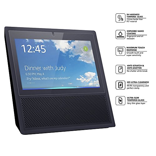 Amazon Echo Show Screen Protector, Ronxs Premium Quality 9H Tempered Glass Screen Protector Anti-Scratch Bubble-Free Ultra-Clear for Amazon Alexa Echo Show 2017 Release