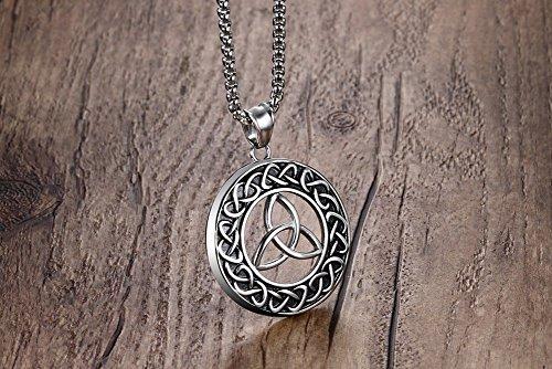 Vnox les hommes celtci noeud en acier inoxydable bijoux trinity pendentif mystique,chaîne gratuite