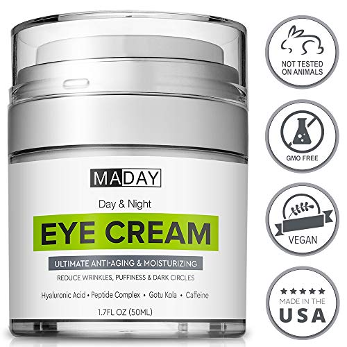 51MUpdcXCmL - Eye Cream - Reduce Dark Circles, Puffiness & Under Eye Bags - Effective Anti-Wrinkles Treatment - Anti-Aging Eye Gel with Hyaluronic Acid, Gotu Kola Extract, Caffeine - Refreshing Eye Serum