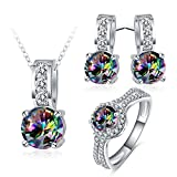 AnaZoz 3PCS Jewelry Set Mysterious Zirconia Women Engagement Ring Stud Earring Pendant Necklace Set Wedding Jewelry with Gift Box Size 7