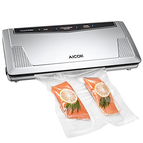 Vacuum Sealer, Aicok Automatic Vacuum Sealing System with Starter Kit, Manual Pulse Function, Double sealing Bar, Included 10 Sealing Bags, Food Savers Vacuum Machine, Silver