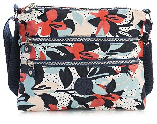 Small Floral Messenger Handbag Lightweight Bag Aqua Women Body Blue Size Big Pocket Rainproof Fabric Shop Cross Multiple Zip Shoulder 6qnAUf