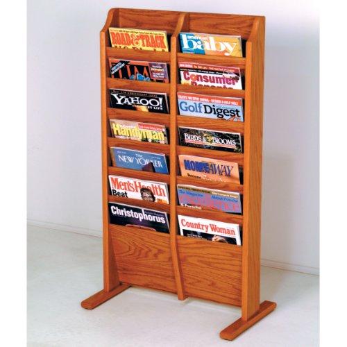 Wooden Mallet 14-Pocket Cascade Free-Standing Magazine Rack, Medium Oak