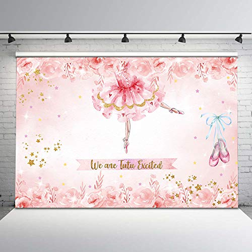 Mocsicka Princess Ballerina Photography Backdrop Ballerina Tutu Pink Flower Background 7x5ft Glitter Colorful Stars Princess Party Birthday Baby Shower Photo Backdrops Cake Dessert Table Decorations]()
