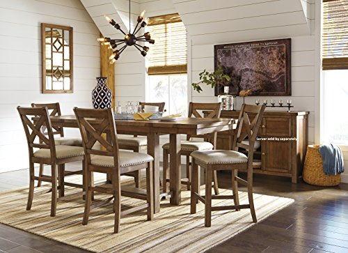 Morrivill Casual Beige Color Dining Room Set, Rectangular Counter Table, 6 Barstools