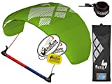 HQ4 Fluxx 1.8M Trainer Kite TR plus Safety Leash Bundle (4 items) Includes Safety Wrist Leash System + WindBone Kite Lifestyle Decals + Key Chain : Control Bar Foil Traction
