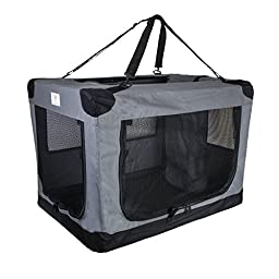 Arf Pets 3 Door Folding Crate  with Strap for Pets, 36 by 25 by 25 Inch