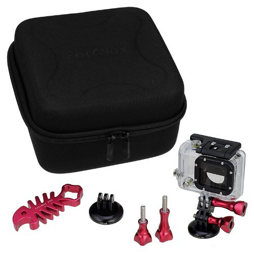Fotodiox GoTough CamCase Double Red Kit with Carrying Case and Metal Accessories for Two GoPro Hero Cameras - 9 Piece