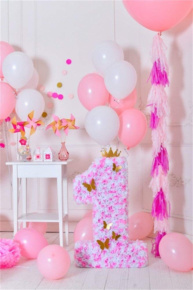 OFILA 1st Girls Birthday Decoration Backdrop 3x5ft Baby Girl First Birthday Photography Background Birthday Balloons Cake Smash Portraits Paper Butterfly Crown Pinwheel Photos Studio Props