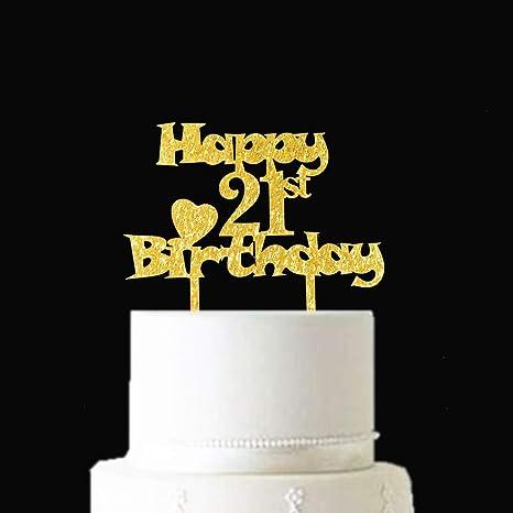 Brilliant Amazon Com Happy 21St Birthday Gold Glitter Cake Topper Hello 21 Personalised Birthday Cards Fashionlily Jamesorg