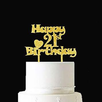Remarkable Happy 21St Birthday Gold Glitter Cake Topper Hello 21 Sweet Funny Birthday Cards Online Elaedamsfinfo