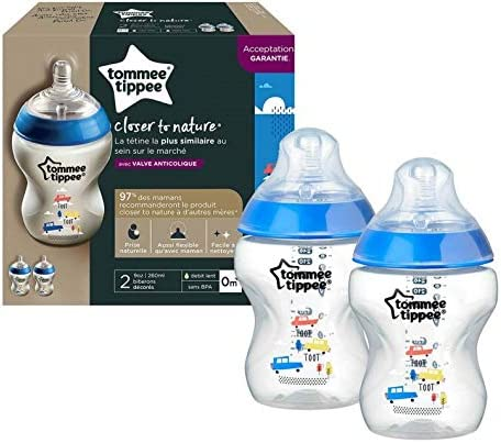 Tommee Tippee 42252171 Pack of 2 Anti-Colic Slow-Flow Baby Bottles Su 260 ml
