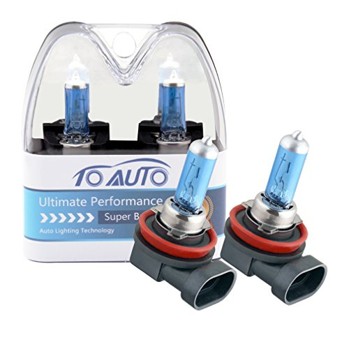 (TOAUTO 2 X H8 35W 12V Car Headlight Lamp Halogen Light Super Bright Fog Xenon Bulb White)