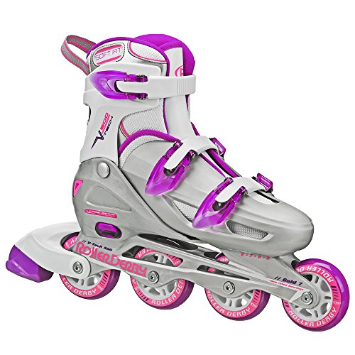 Roller Derby Women's V-Tech 500 Button Adjustable Inline Skate, Grey/Purple, Size 6-9 by Roller Derby