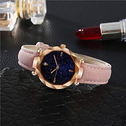 Fashion Analogue Quartz Ladies Watches Faux Leather Band Starry Sky Dial Simulated Diamond Wrist Watches (F)