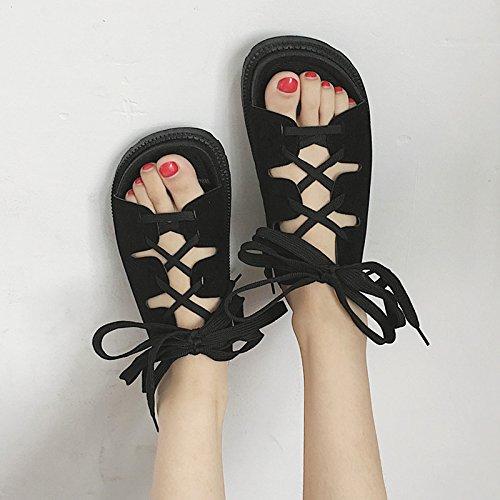 RUGAI-UE Sandalias de playa en verano, Zapatos de fondo plano inferior grueso estudiantes Lace cómodos zapatos de mujer Black
