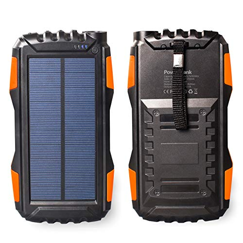 Gootu Solar Charger, 25000mAhPortable Solar Power Bankwith Dual USBOutputPorts andLEDFlashlightfor Outdoor & Indoor Use, External Battery Packfor iPhone, iPad, Android Phones and more (Orange) ()