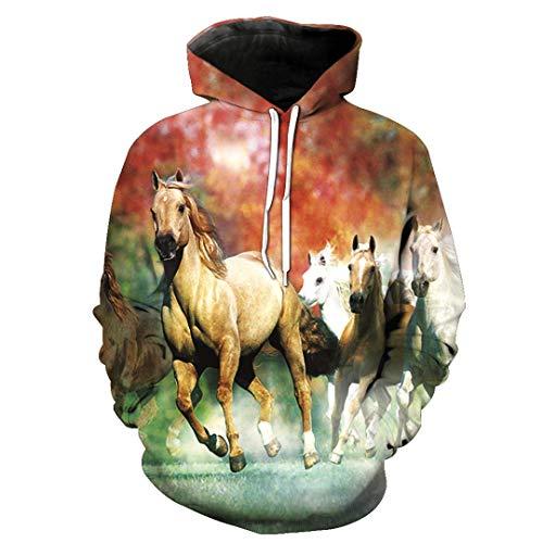 Men Women Casual Cool 3D Print Yellow Horse Animal Pattern Loose Sweatshirt Autumn Winter Outdoor Sport Outwear Tops XL