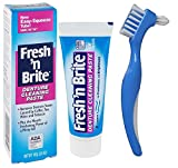 Fresh'n Brite Denture Cleaning Paste Tablets bundle with Dentu-Care Denture Brush for Maintaining Good Oral Care of Full/Partial Dentures