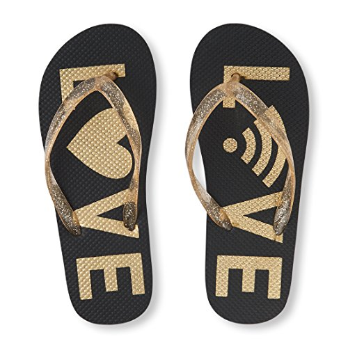The Children's Place Girls' BG Love FF Flip-Flop, Gold, YOUTH12-13 Medium US Big Kid