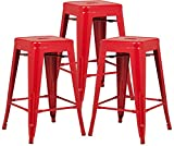 Cheap Poly and Bark Trattoria 24″ Counter Height Stool in Red (Set of 3)