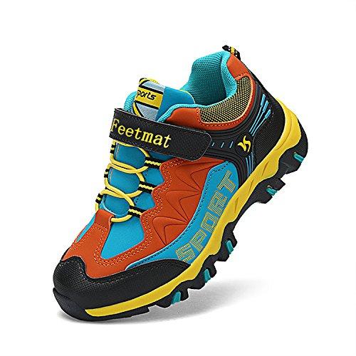 Feetmat Boys Hiking Shoes Waterproof Kids Sneakers Black Orange Size 12.5 M Little Kid