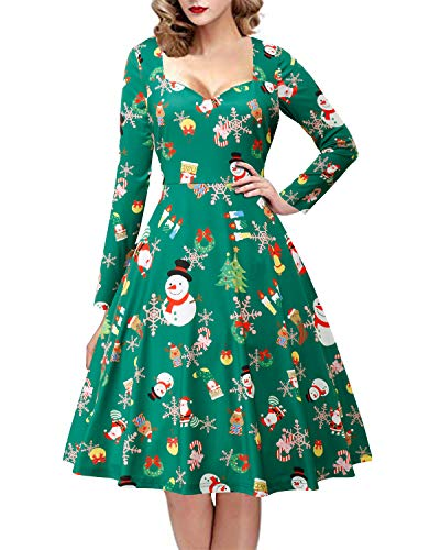 GIKING Women's Christmas Dress Printed Long Sleeve Retro Swing Party Dress Green S