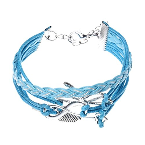 DondPO Arrow Dragonfly Handmade Leather Braid Infinity Endless Love Symbol Charm Adjustable Fashion Bracelet for Girls (Blue)