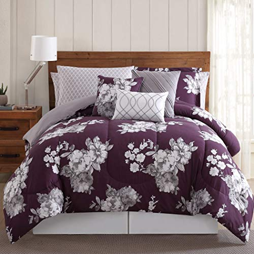 LV 12 Piece Purple Grey White Floral Comforter Set Queen, Light Purple Gray Flower Bedding Garden Themed Bed in a Bag for Master Bedroom Boho Chic Vintage Colorful, Microfiber Polyester from LV