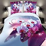Bazaar 4pcs Suit Polyester Fiber 3D White Pink Phalaenopsis Reactive Dyeing Bedding Sets Queen King Size