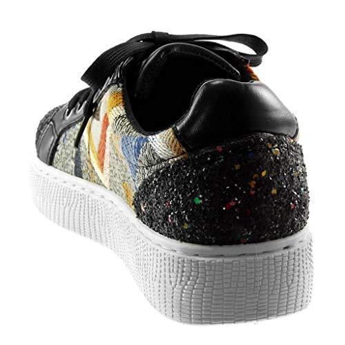 Donna Ricamo Angkorly Nero Paillette Tacco Perforato Piatto Moda 3 Scarpe Tennis Sporty Sneaker Cm Bi materiale Chic 5 Hg8qHw