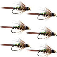 The Fly Fishing Place Flashback Bead Head Prince Nymph Fly Fishing Flies - Set of 6 Flies Hook Size 12