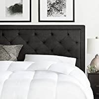 BROOKSIDE Upholstered Headboard with Diamond Tufting (Queen, Charcoal)